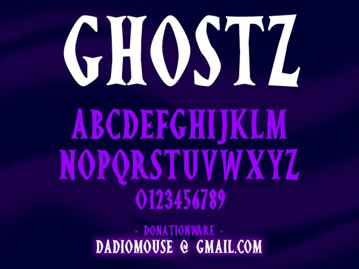Ghostz Font poster