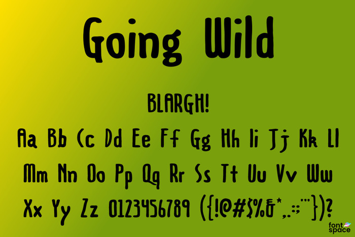 Going Wild Font poster