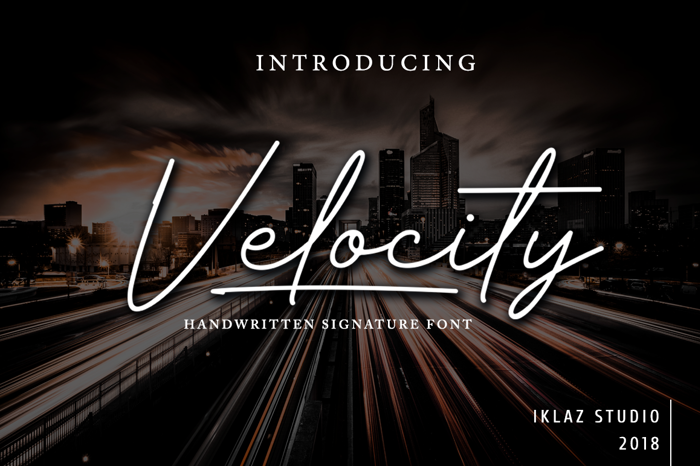 Velocity - DEMO Font poster