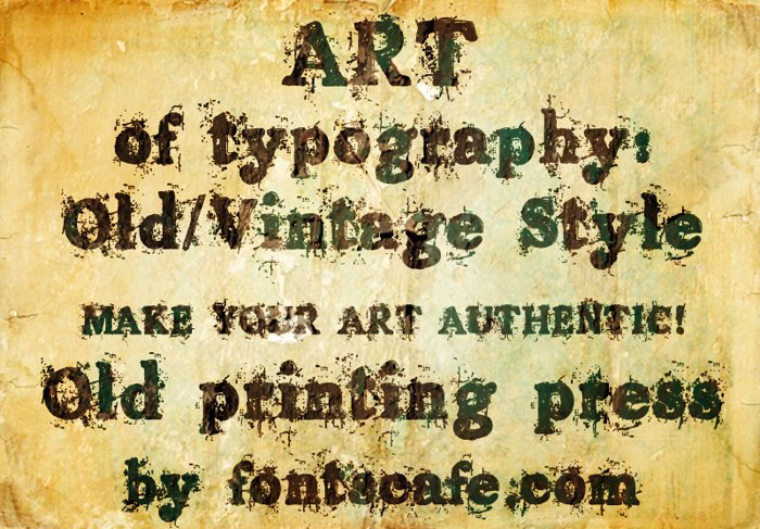 Old printing press Font poster