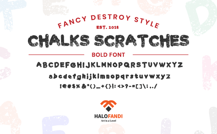 Chalk Scratches Rough Font poster