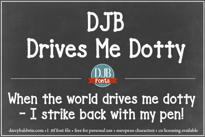 DJB Drives Me Dotty Font poster