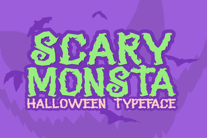 SCARY MONSTA Font poster