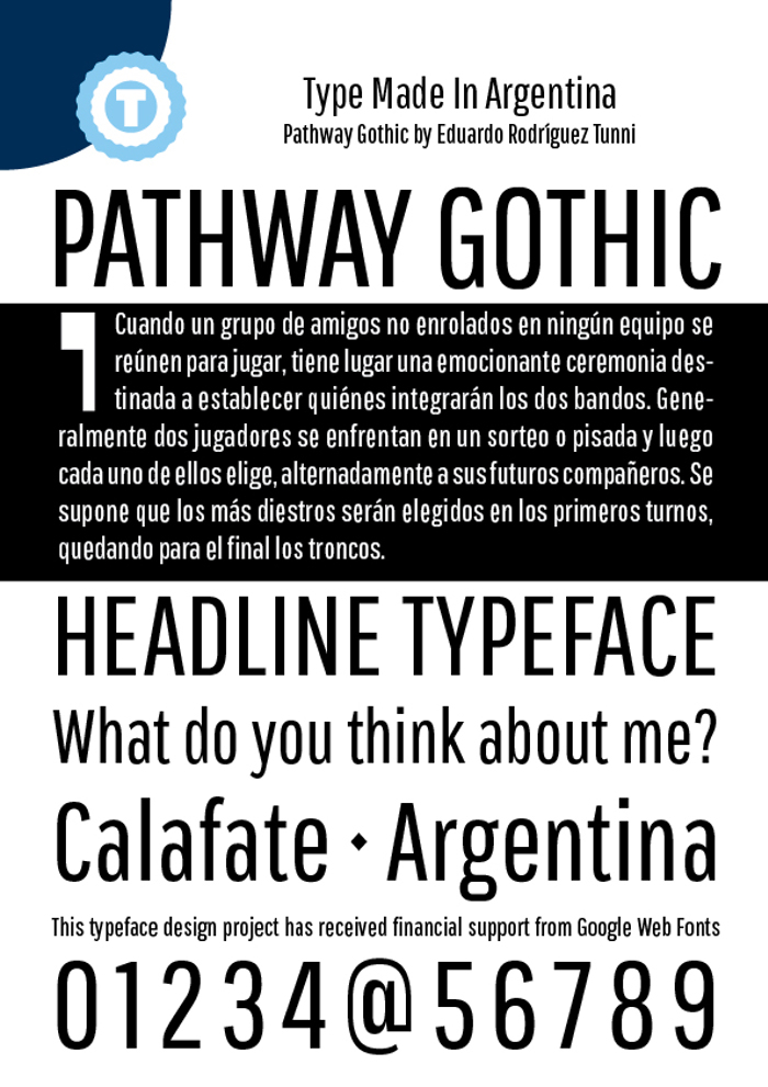 Pathway Gothic One Font poster