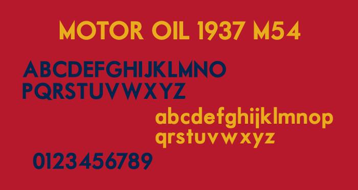 Motor Oil 1937 M54 Font poster