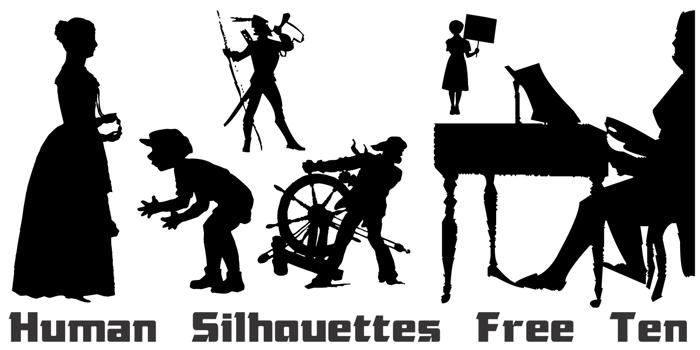 Human Silhouettes Free Ten Font poster