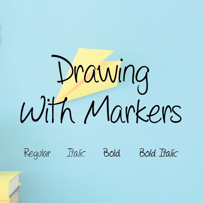 Drawing with markers Font poster