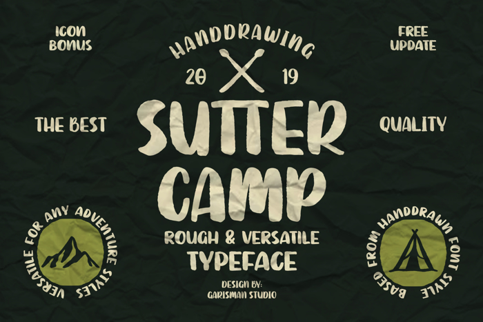 Sutter Camp Font poster