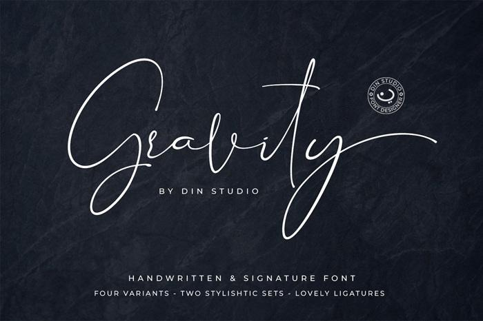 Gravity Handwritten Font poster