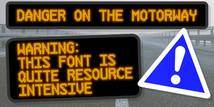 Danger on the Motorway Font poster