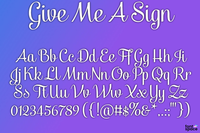 BB Give Me A Sign Font poster