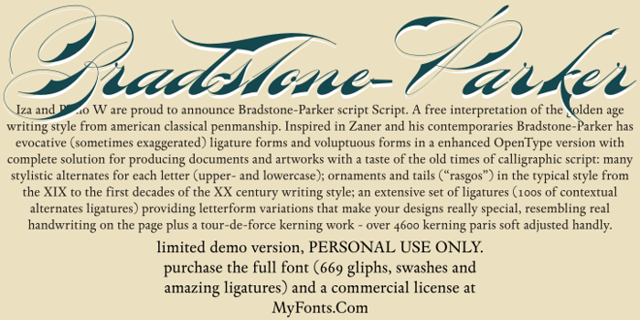 Bradstone-Parker Script Limited Font poster