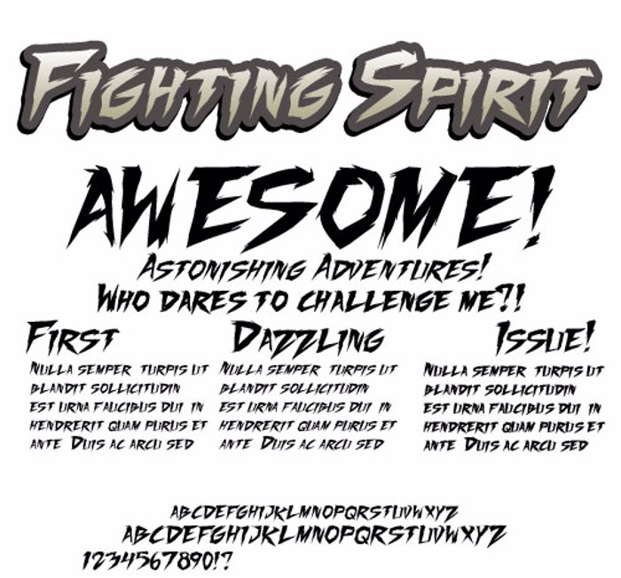 Fighting Spirit TBS Font poster