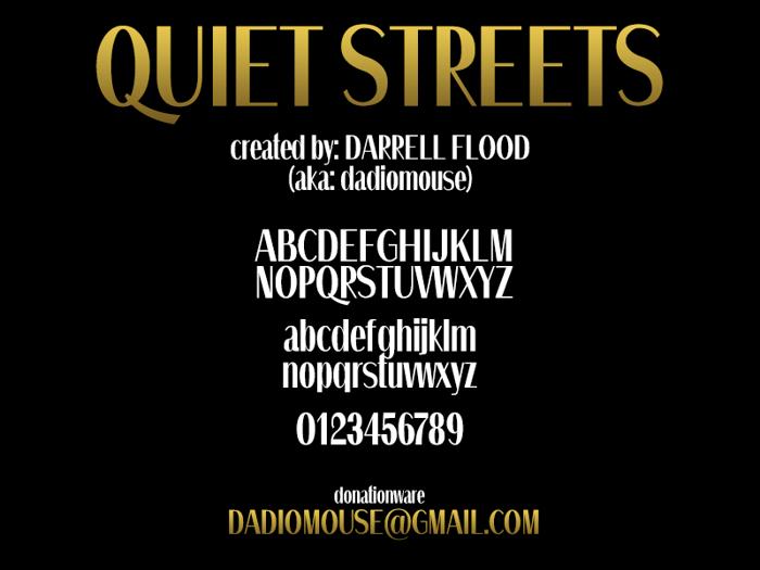 Quiet Streets Font poster