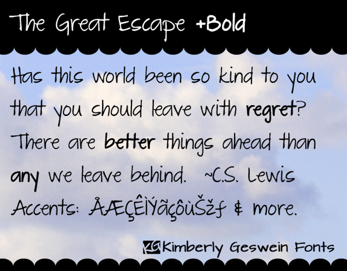 The Great Escape Font poster