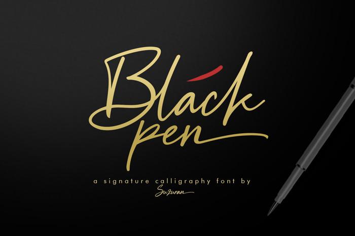 Black Pen Font poster