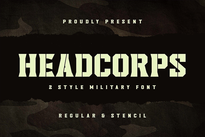 Headcorps Stencil Font poster