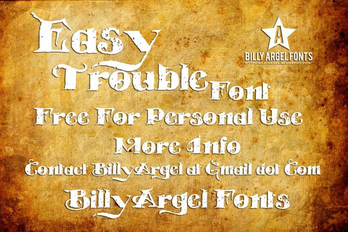 EASY TROUBLE Font poster
