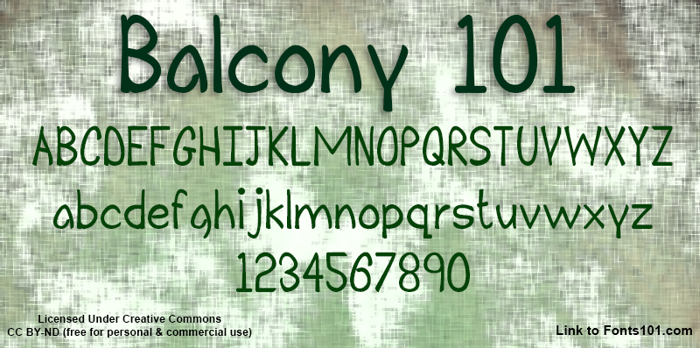 Balcony 101 Font poster