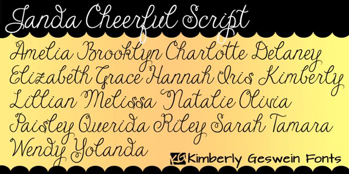 Janda Cheerful Script Font poster