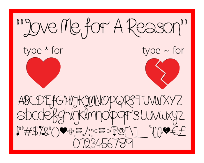 Love Me For A Reason Font poster