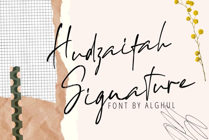 Hudzaifah Signature Font poster