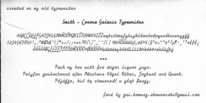 Smith-Corona Galaxie Typewriter Font poster