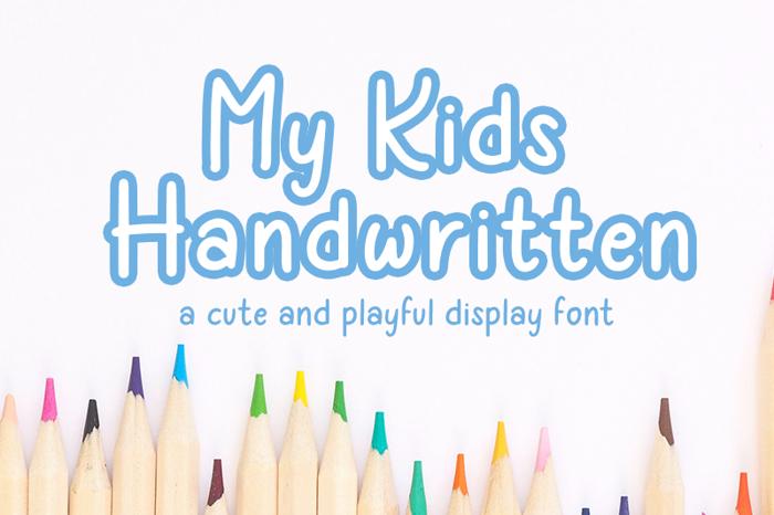My Kids Handwritten Font poster