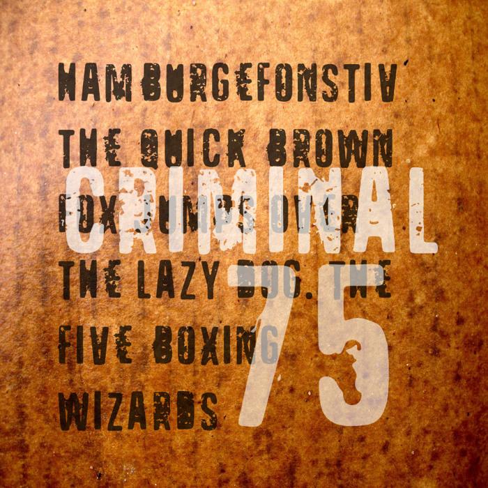 VTKS CRIMINAL 75 Font poster