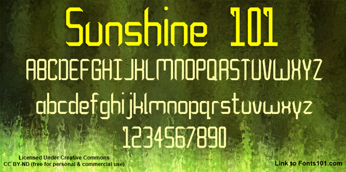 Sunshine 101 Font poster