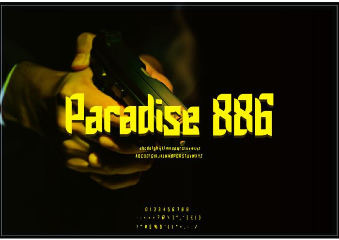 Paradise 886 Font poster