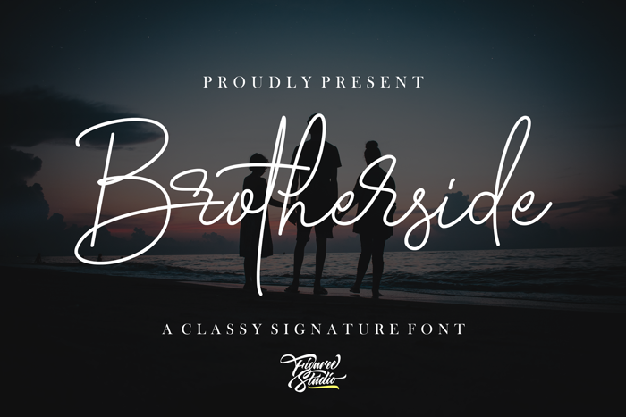 Brotherside Signature Font poster