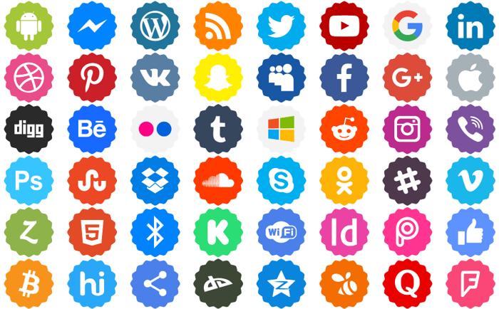 Social Networks Color Font poster