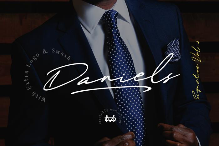 Daniels Signature Font poster