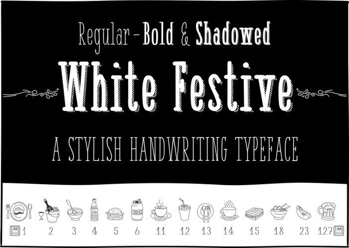 White Festive Font poster