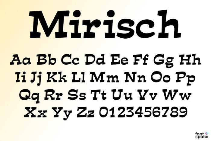 Mirisch Font poster