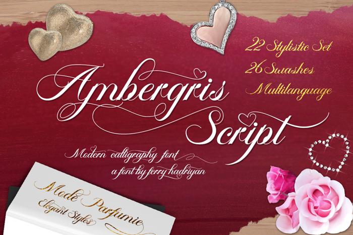 Ambergris Script Font poster