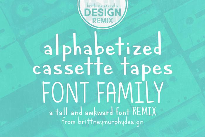 Alphabetized Cassette Tapes Font poster