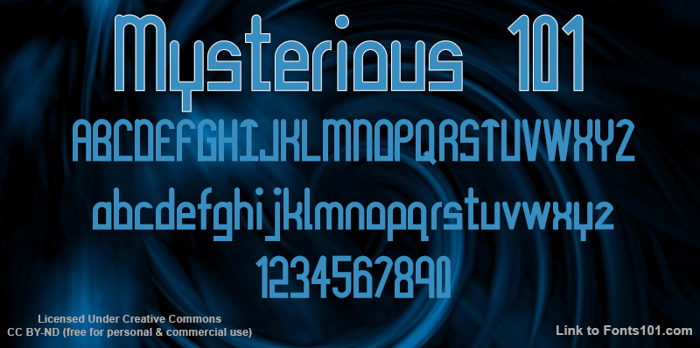 Mysterious 101 Font poster
