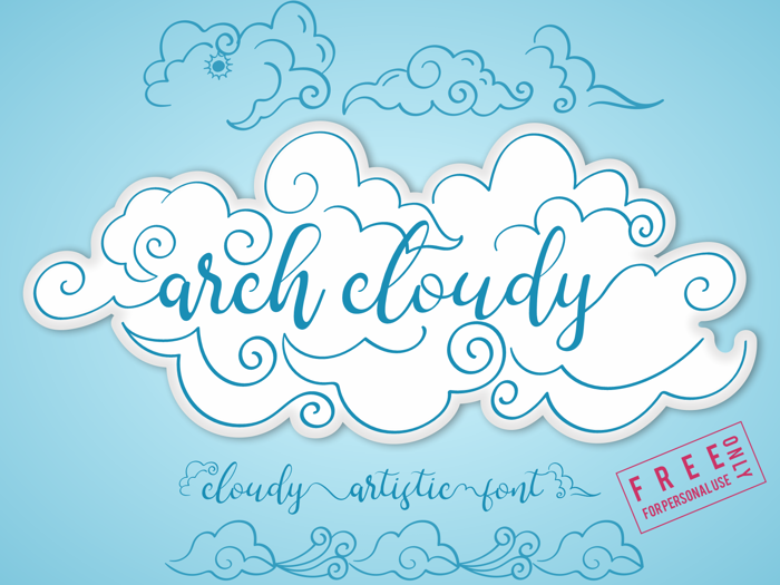 arch cloudy Font poster