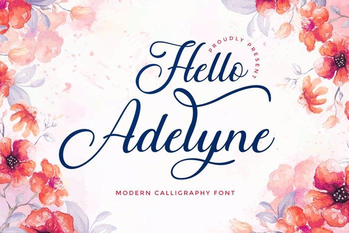 Hello Adelyne Font poster