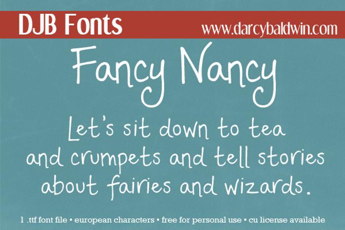 DJB Fancy Nancy Font poster