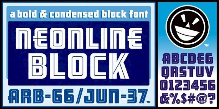 ARB 66 Neon Line JUN-37 Font poster