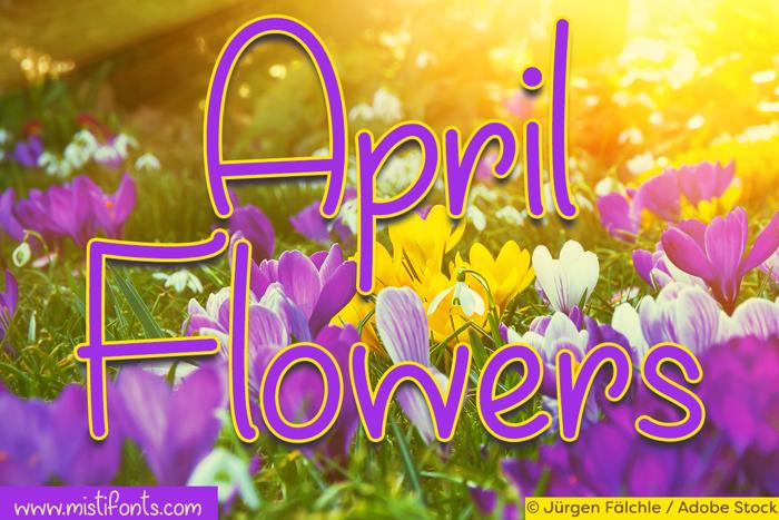 April Flowers Font poster