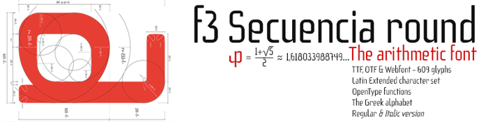 f3 Secuencia round Font poster