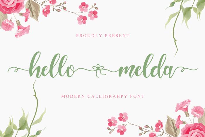 Hello Melda Font poster