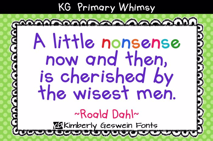 KG Primary Whimsy Font poster