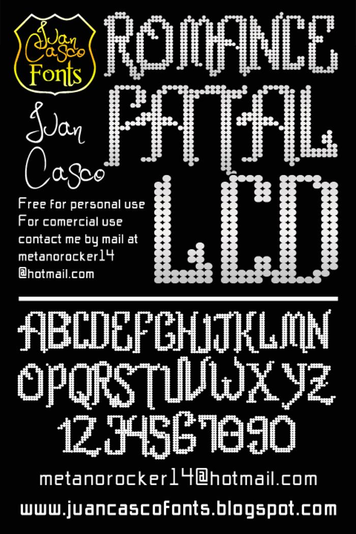 Romance fatal LCD Font poster