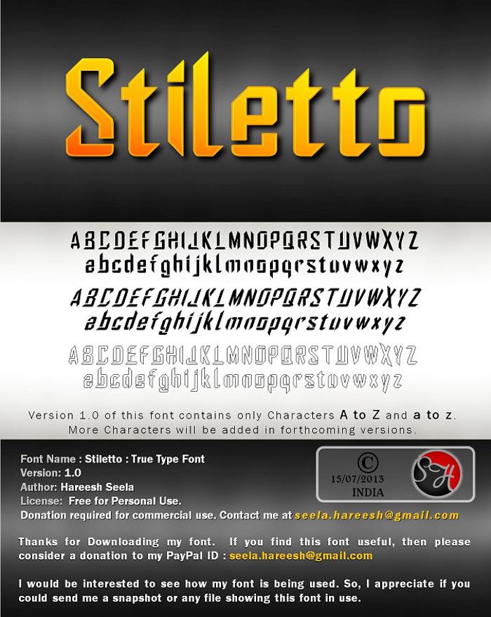 Stiletto Font poster