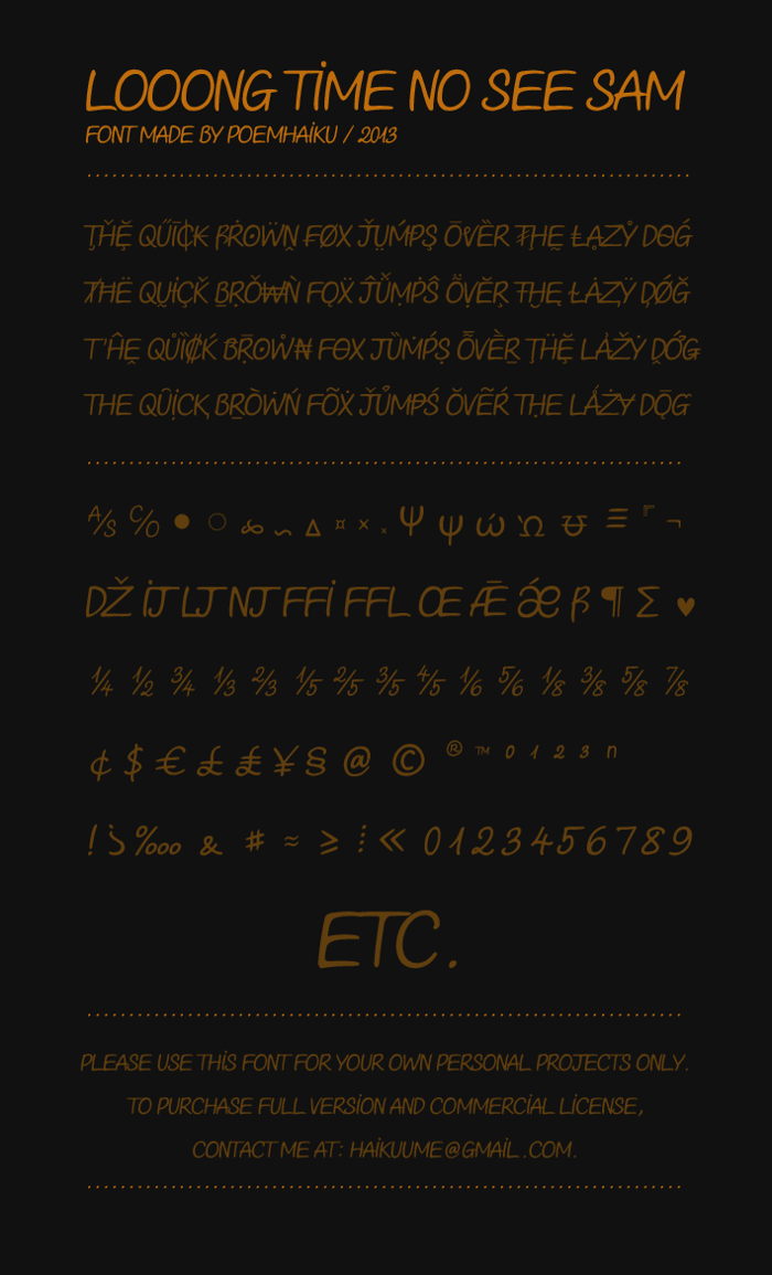 Looong time no see Sam Demo Font poster